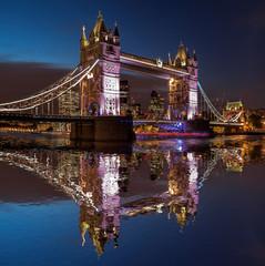 Wall Mural - Tower Bridge at night in London, England, UK