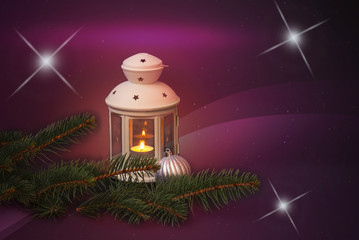 White lantern, fir branches and christmas ball on holiday background. View with copy space.