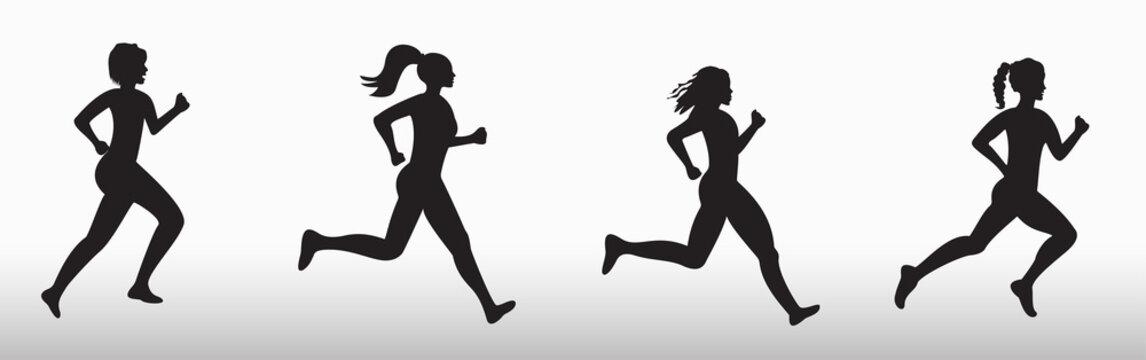 Silhouette of three running women. Vector illustration