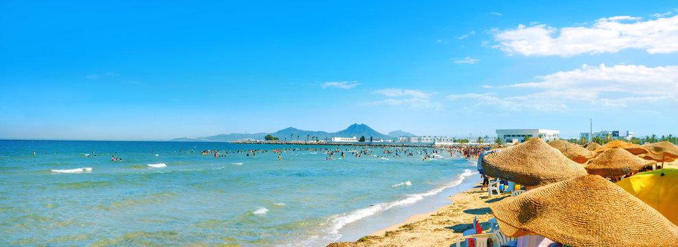 Beach in Tunis town. Tunisia, North Africa
