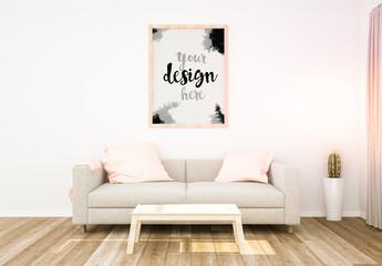Large Frame in Living Room Mockup