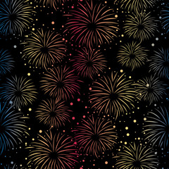 Firework seamless vector pattern isolated. Bright Fireworks gradient on black background. Bright decoration Christmas card, Happy New Year celebration, anniversary, festival, party, July.