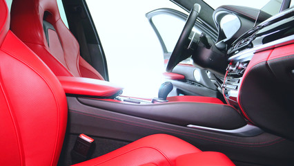 Closely shown are different parts of the car interior. Concept from: Car Garage, Glass lifts, Steering part, After dry cleaning, Absolutely new, New Generation Car.