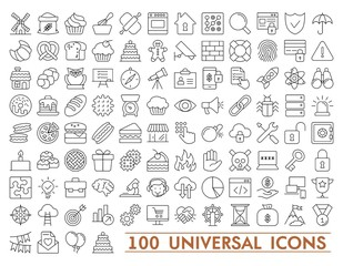 100 Set of universal icons for web and mobile. Big package of modern minimalistic, thin line icons.