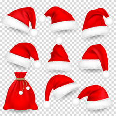 Christmas Santa Claus Hats With Fur Set, Bag, Sack. Xmas, New Year Red Hat With Shadow. Winter Cap. Vector illustration.