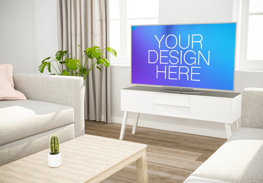 Large Television in Living Room Mockup