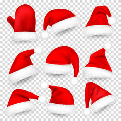 Christmas Santa Claus Hats With Fur Set, Mitten. Xmas, New Year Red Hat With Shadow. Vector illustration.