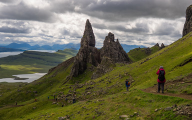 "Tourist attraction ""Old man of Storr"" with tourists"