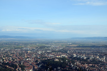 Aerial view of the Brasov City from Tampa Mount. Brasov, Transylvania, Romania.