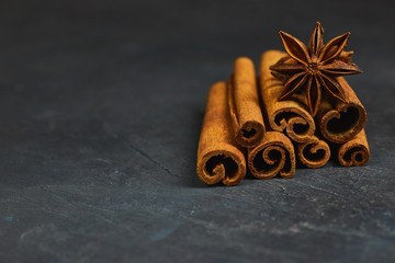 cinnamon sticks and cardamom on a black background horizontal view close-up with copy space for text. fragrant spices.