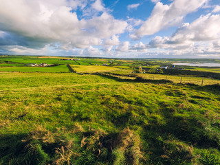 sunshine countryside in giant causeway,Northern Ireland
