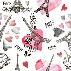 Seamless background Eiffel tower