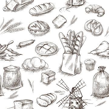Seamless bread bakery background