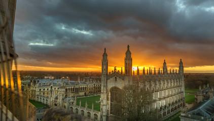 Panorama of Cambridge with beautiful sunset sky, UK