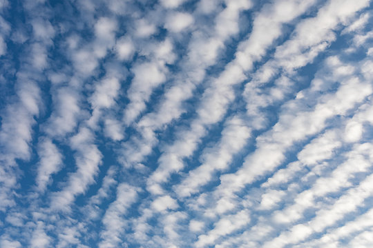 Cirrocumulus clouds against blue sky background pattern