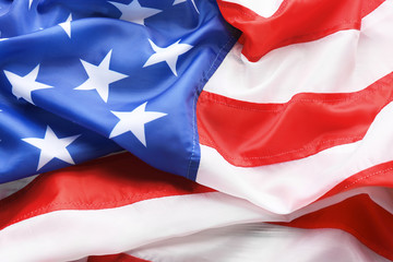 American flag as background, closeup. National symbol of USA
