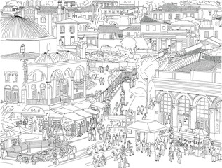 Hand drawn vector illustration. Athens, Greece aerial cityscape. People wander the busy, historic Monastiraki Square, a landmark public plaza in the center of the city.