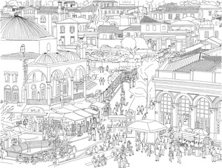 Hand drawn illustration. Athens, Greece aerial cityscape. People wander the busy, historic Monastiraki Square, a landmark public plaza in the center of the city.