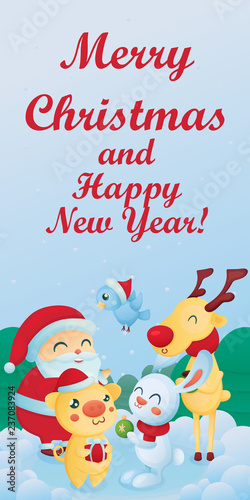 christmas and new year themes cute animals the symbol