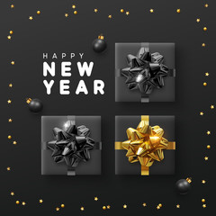 Happy new year background with gift box, golden bright stars and black balls.