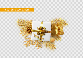 Christmas golden decoration. gift box, pine branch, pine cone, ball and snowflake bright glitter. Holiday isolated objects on transparent background. Xmas design elements