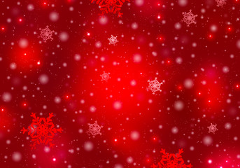 Snowflakes on a red christmas background.