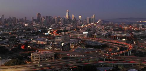 Dusk Twilight Bay Bridge Highway Traffic Downtown San Francisco California