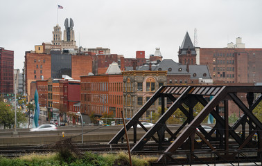 Industrial View Downtown City Skyline Rochester New York