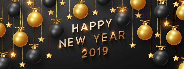 2019 Happy New Year bright background hanging with black and gold balls. Horizontal banner, posters, greeting cards, headers, website.