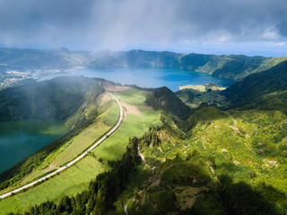 Boca do Inferno lakes in Sete Cidades volcanic craters on San Miguel, Azores islands, Portugal.