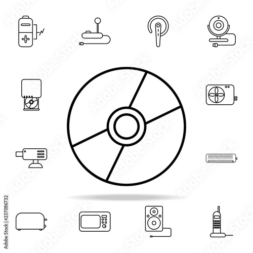 Cd Disk Outline Icon Element Of Equipment Icon For Mobile Concept