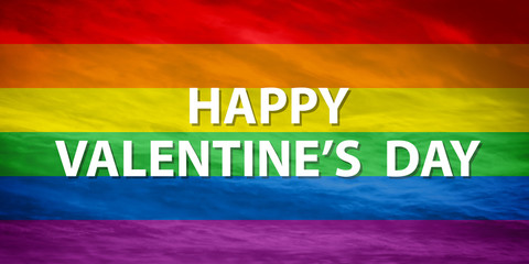 "LGBTQ flag with ""HAPPY VALENTINE'S DAY"" text"