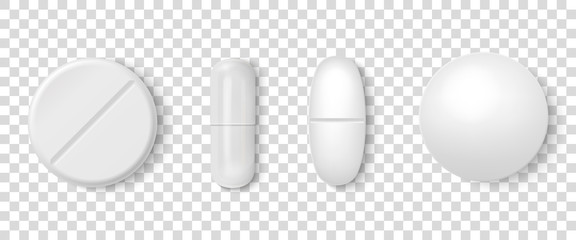 Vector 3d Realistic White Medical Pill Icon Set Closeup Isolated on Transparency Grid Background. Design template of Pills, Capsules for graphics, Mockup. Medical and Healthcare Concept. Top View