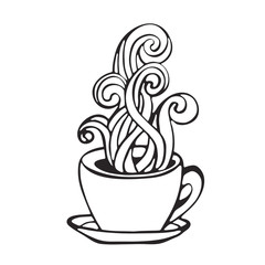 hot coffee cup smoke icon image black and white handdrawn