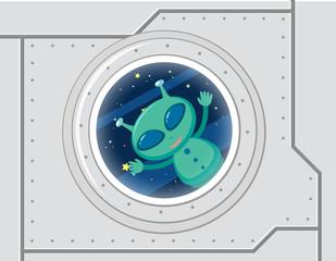 Green alien in space