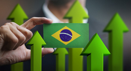 Garden Poster Brazil Nation Growth Concept, Green Up Arrows - Businessman Holding Card of Brazil Flag