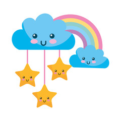 kawaii clouds stars and rainbow cartoon
