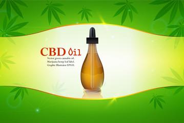 Vector green cannabis oil. CBD Oil. Marijuana leaf label. Graphic, hemp.