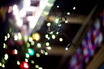 Christmas decoration, abstract background, bokeh. Garland