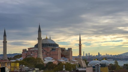 Wall Mural - Istanbul Hagia Sofia with view of Istanbul city skyline time lapse in Turkey, timelapse 4K