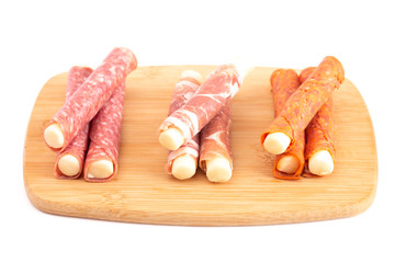 Mozzarella Cheese Stick Wrapped in Cured Meat a Great Snack for Low Carb Diets
