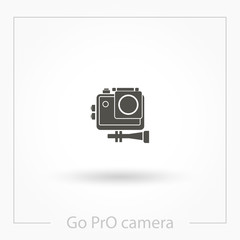 Action camera icon vector, solid illustration, pictogram isolated on white