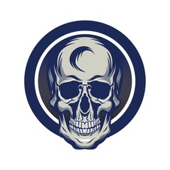 Skull monocrome vector head illustration charactres modern style on eps 8