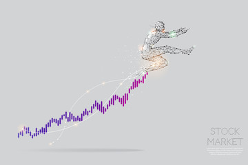 The particles, geometric art, line and dot of stock graph.