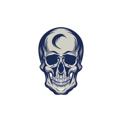 Skull monocrome vector head illustration charactres modern style on eps 8