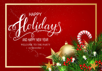 Greeting Card for Winter Happy Holidays.