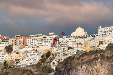 Detail view of the city of Thira in Santorini, Geece.