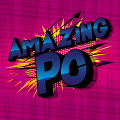 Amazing PC (Acronym which stands for Personal Computer) - Vector illustrated comic book style phrase on abstract background.