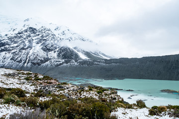 Beautiful view of Kia point, Mount Cook National Park covered with snow after a snowy day.