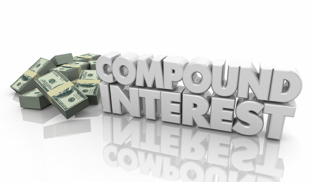 Compound Interest Money Income Growth Increase 3d Illustration